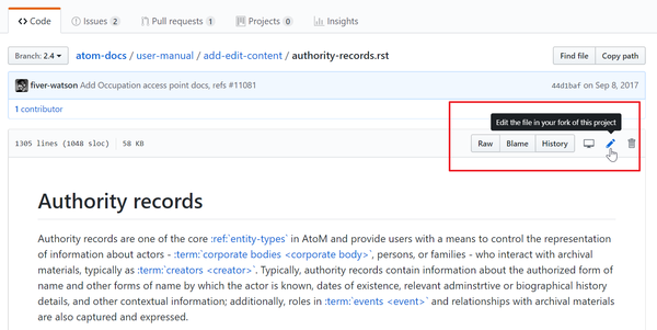 "An image of the GitHub ""Edit"" button"