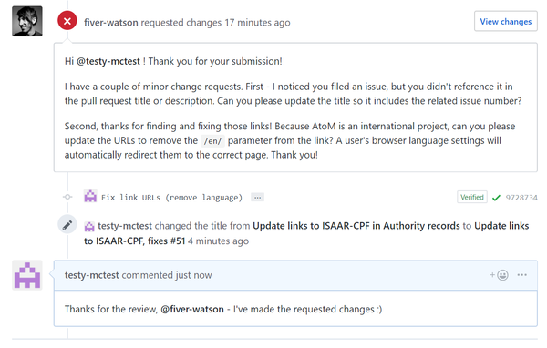 An image of the comments thread as seen on a pull request in GitHub