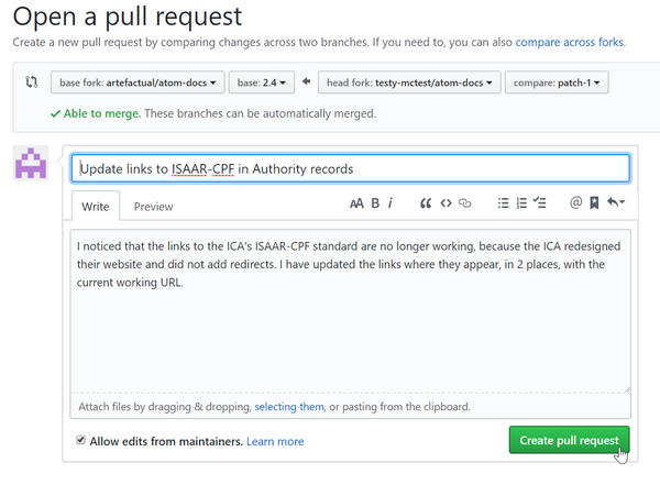 An image of the GitHub pull request button