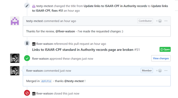 An image of a PR being accepted and closed in GitHub